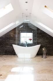 loft conversion bathroom ideas slate splashback in an open plan loft conversion bath