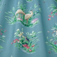 Bird Print Curtain Fabric Iliv Floral Pavilion Collection Waterbirds Cobalt Animal Print