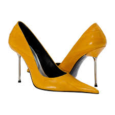 Yellow Mustard Color Daisy Mustard Yellow Eel Skin Pointed Toe Stilettos Paolo Shoes