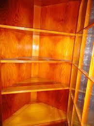 Mid Century Corner Cabinet Pine Corner Cabinet Pair 3 Shelf 12 Panel Glass Doors Full Hand