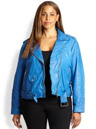 blue motorcycle jacket michael michael kors crinkledleather moto jacket in blue lyst