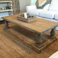 wood plank coffee table rustic baluster wide plank coffee table