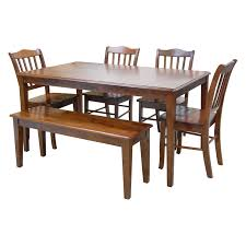 Shaker Dining Room Chairs by Boraam Shaker 6 Piece Dining Set With Bench Walnut Hayneedle
