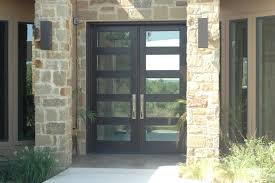 custom front entry double door modern style with privacy glass