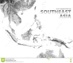 Southeast Asia Map by Vector Stippled Relief Map Of Southeast Asia Stock Vector Image