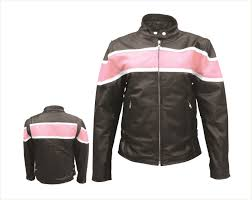 ladies leather motorcycle jacket leather motorcycle jacket with pink and white stripe