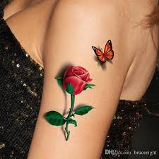 women 3d rose butterfly tattoo sticker waterproof flowers