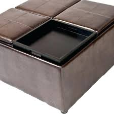 Noah Tufted Storage Ottoman Elegant Round Brown Leather Storage Ottoman For House Design
