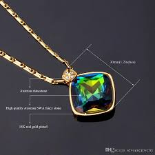 real blue opal rainbow fire opal pendant necklace 18k real gold plated shiny