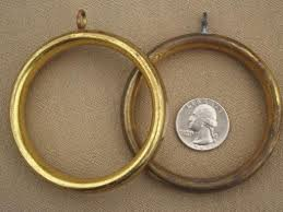 3 Curtain Rings Vintage Brass Curtain Rings 60s 70s Retro Big Round Curtain Rings Lot