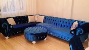 Blue Velvet Sectional Sofa Navy Blue Velvet Chesterfield Sofa Large L Shaped Interior Design