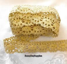 gold lace ribbon gold lace trim ribbon fringe lace gold metallic lace 5 yards