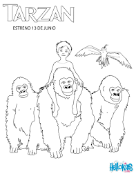 young tarzan with his family coloring pages hellokids com