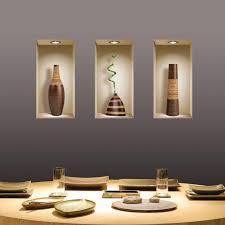 stickers trompe oeil mural livraison gratuite set 3 brown vase sticker 3d art magic