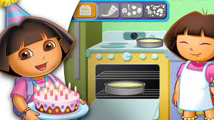 dora baking birthday cake dora explorer game kids