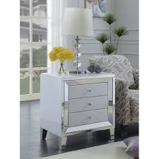 best quality furniture white lacquer 3 drawer nightstand with