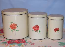 vintage metal kitchen canisters vintage metal kitchen canisters with geraniums