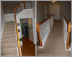 Oak Banister Frugal Home Improvement Idea Using Gel Stain On Banisters