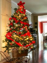 gold and red decorated christmas trees christmas lights decoration