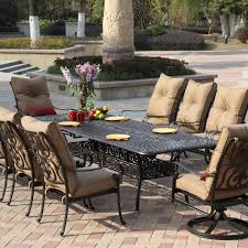 patio 10 person outdoor dining set with metal patio furniture