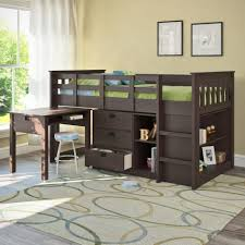 bedroom astonishing interior brown wooden storage under bunk bed
