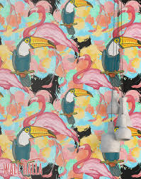 Wallpaper Removable Flamingo Toucan Wallpaper Removable Wallpaper Pink