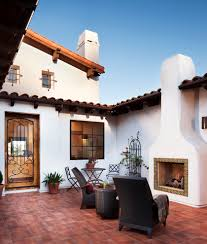 mission style fireplace landscape southwestern with container