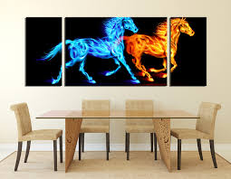 Zebra Print Dining Room Chairs 3 Piece Huge Canvas Print Blue Photo Canvas Horse Wall Decor