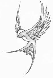 hier zie je een tekening van een vogel die wegvliegt hij is dan