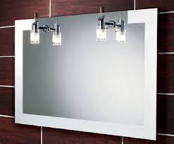 Heated Bathroom Mirror With Light Accessories For Bathroom Decoration Using Cherry Wood Tile