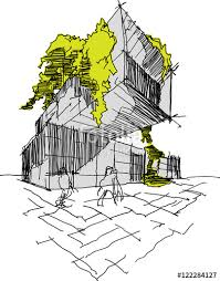 hand drawn architectural sketch of a modern building with lot of