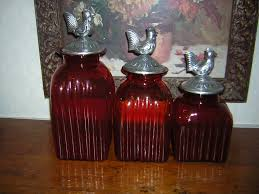 Red Kitchen Canisters Sets Glass Canister Set Bathroom Glass Kitchen Canisters Idea