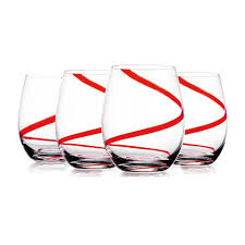 red swirl stemless wine glasses set of 4 at home at home