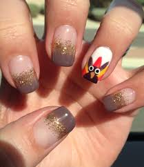 gel nail art turkey thanksgiving nail art gobble gobble my