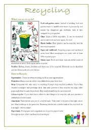 english teaching worksheets recycling