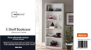 5 Shelves Bookcase Mainstays 5 Shelf Standard Wood Bookcase Expresso Walmart Com