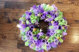 mardi gras bead wreath made by katy mardi gras wreath with deco mesh spirals