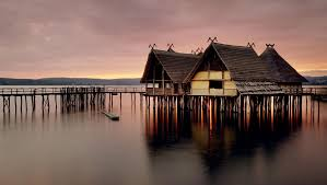 traditional fishermen wooden houses on stilts photo and desktop