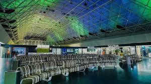 keflavik airport iceland mero ceiling interactive light art