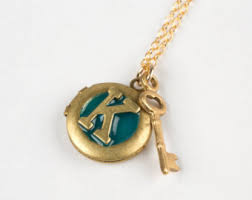Monogram Key Necklace Letter K Necklace Etsy