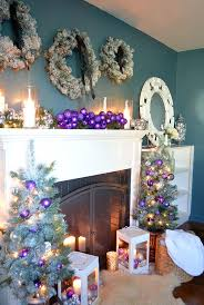 How To Decorate A Mantel For Christmas Christmas Decorating In Purple An Elegant New Mantel