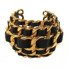 gold chain bracelet with leather images Chanel black and gold vintage leather woven chain cuff bracelet jpg