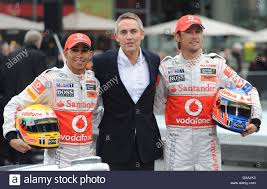 mclaren ceo british formula one drivers lewis hamilton l and jenson button