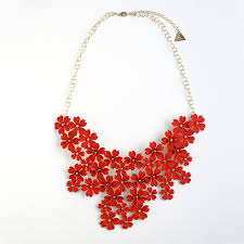 red necklace statement images Mega floral statement bib necklace red serefina jpg