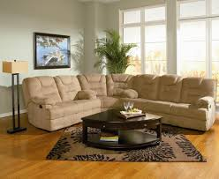 Curved Floor L Light Beige Microfiber Sectional Sofa With Recliners Added By