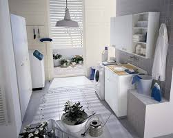 creating small laundry room design with nice white cabinet and