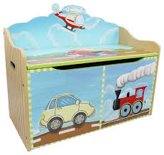 transportation handcrafted wooden kids toy box with safety hinge