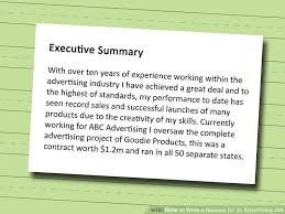 How To Write A Resume For A Job With Experience by 3 Ways To Write A Resume For An Advertising Job Wikihow