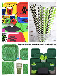 party city halloween plates block miner u0026 minecraft party planning ideas u0026 supplies