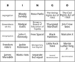 civil rights movement bingo by bingo card template